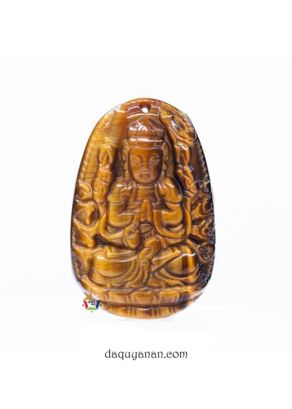 Phật Thiên Thủ Thiên Nhãn đá mắt hổ vàng nâu