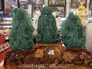 Bộ Tam Thế Phật chất liệu thạch anh xanh