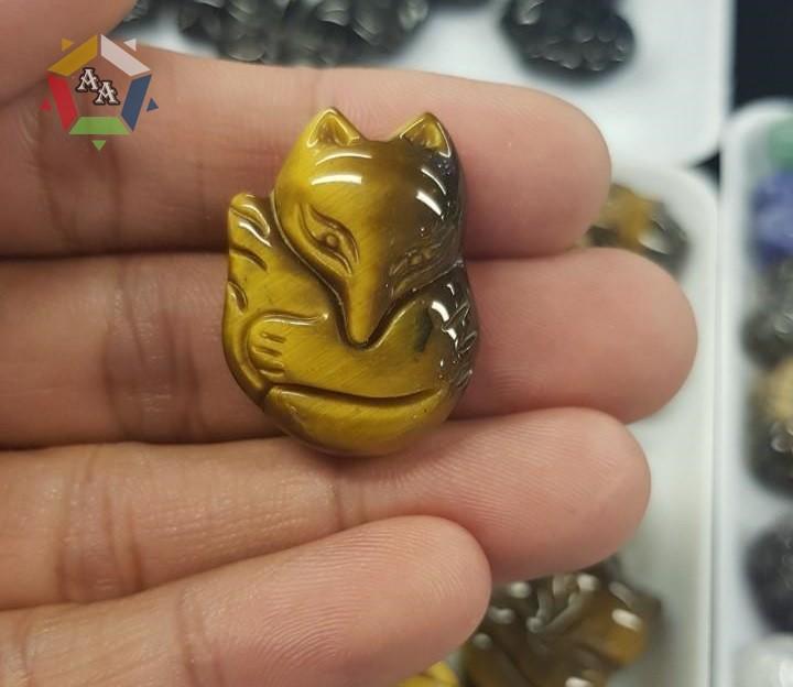 Mặt đá Hồ ly phong thủy Đá mắt hổ vàng
