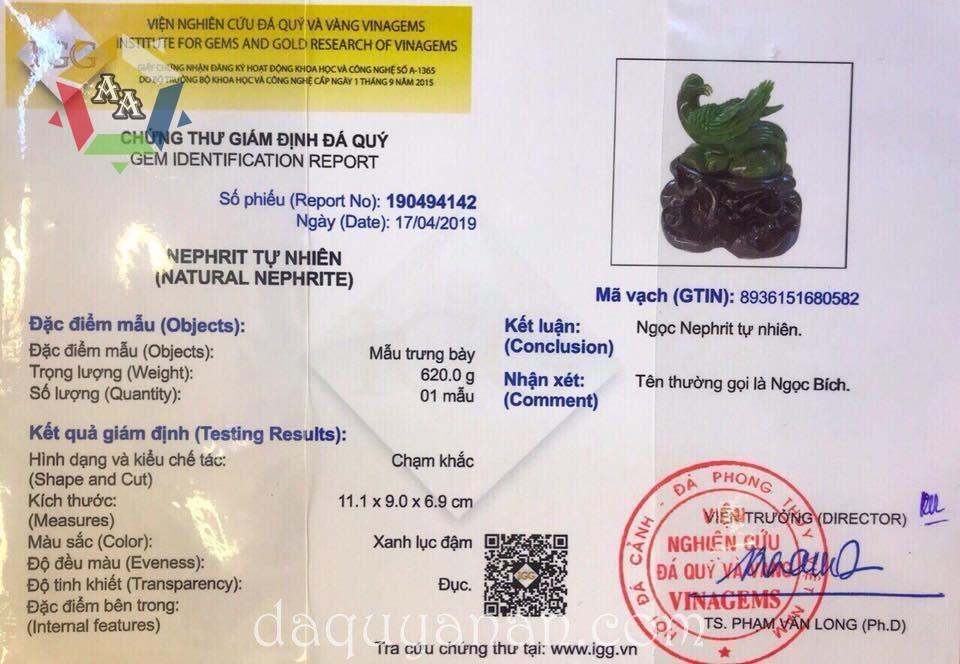 Chứng thư giám định Phượng hoàng Ngọc bích Nephrite tự nhiên