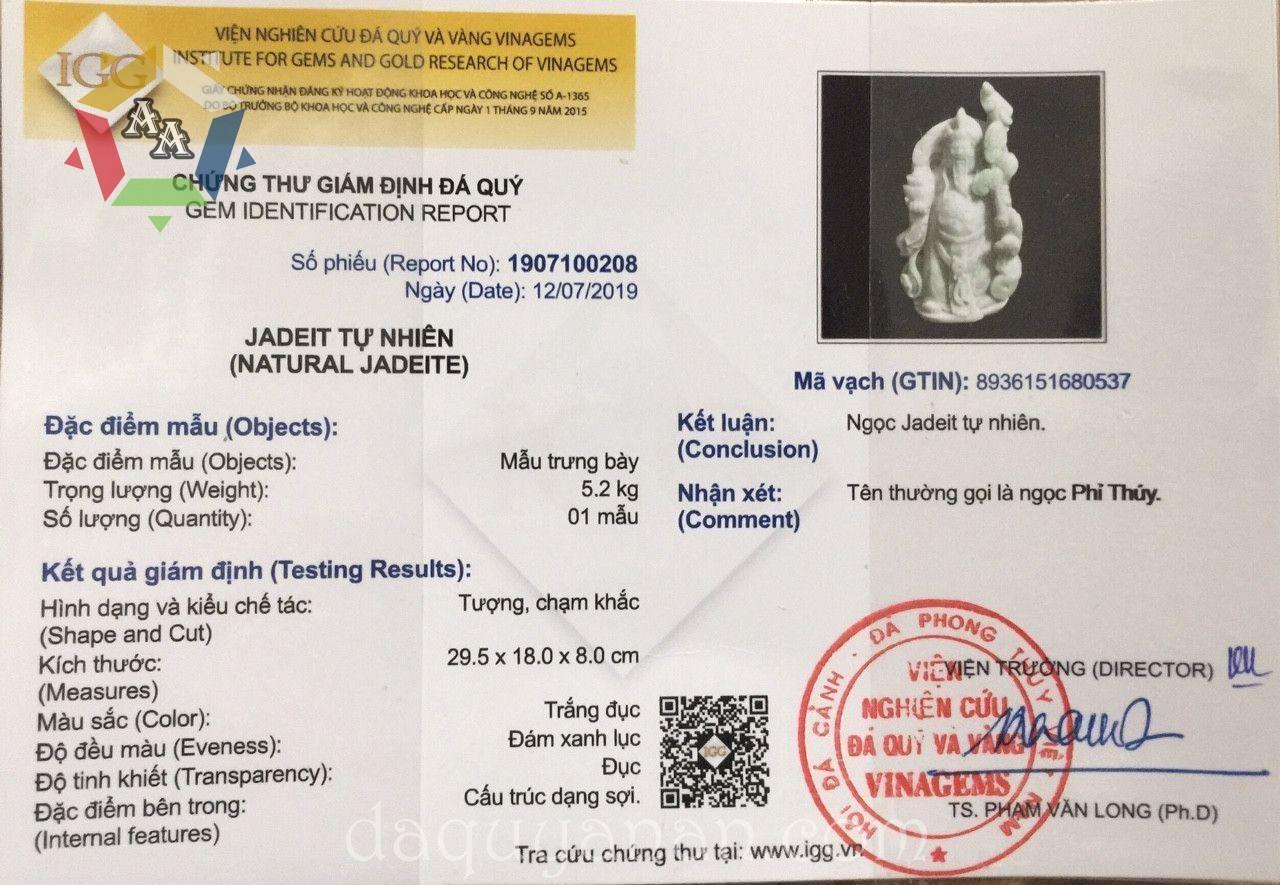 Chứng thư giám định đá quý - Thần tài ngọc Jadeite tự nhiên