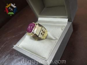 Mặt nhẫn Ruby + vàng 18k dành cho nam/nữ