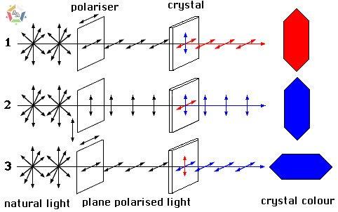 Hình vẽ mô tả nguyên nhân hiện tượng đa sắc Pleochroism