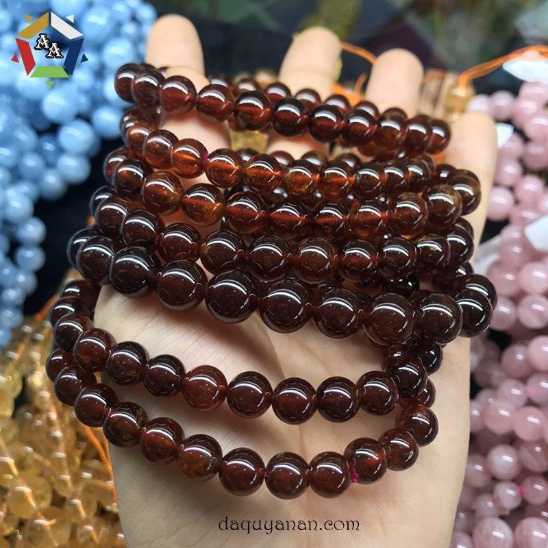 Vòng tay ngọc hồng lựu Garnet cam tự nhiên