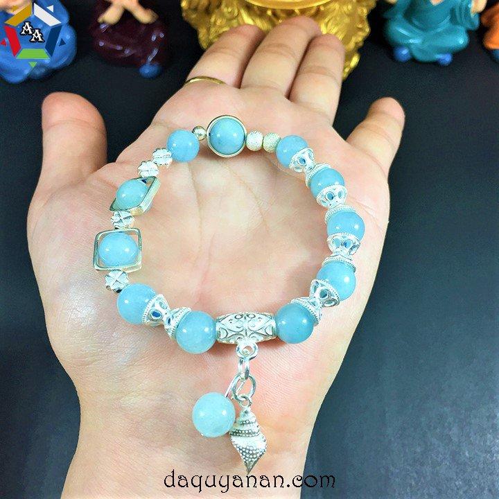 Vòng đá Aquamarine mix bạc